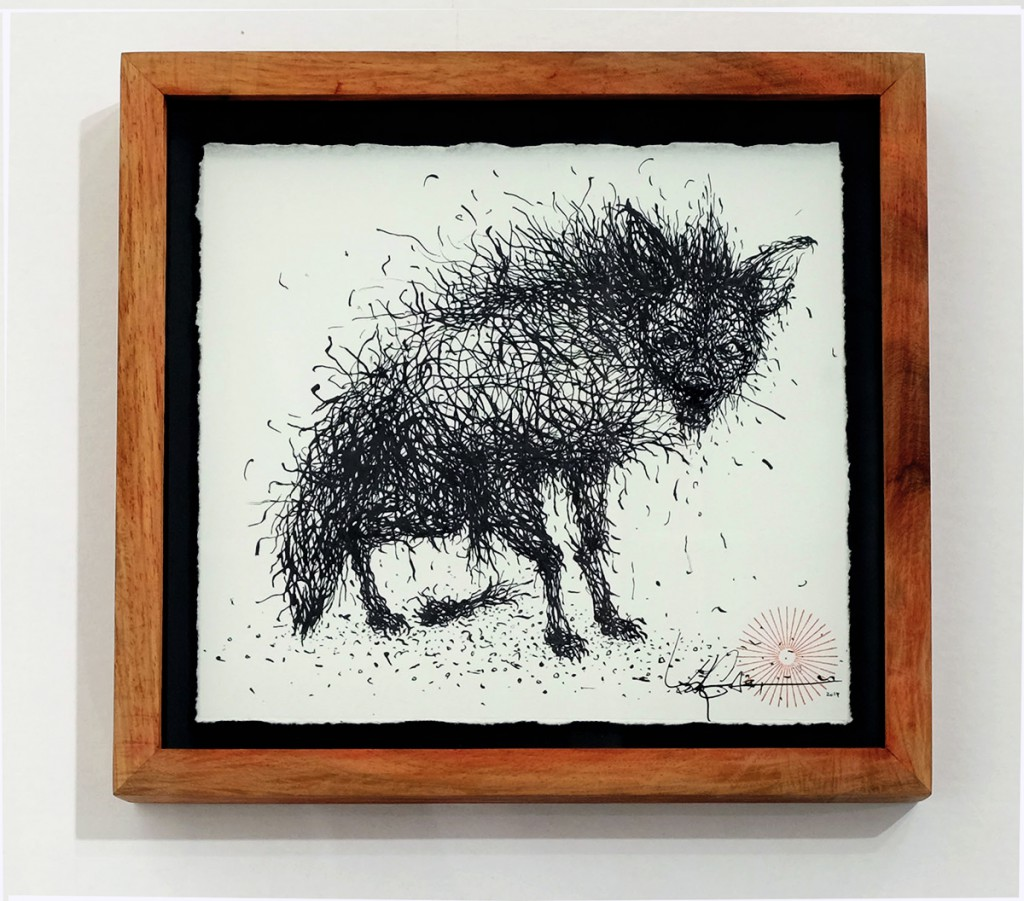DALeast  &nbsp -  <strong>Untitled 17</strong> (2014<strong style = 'color:#635a27'></strong>)<bR /> ink on paper,   7 x 7.5 inches  (17.78 x 19.05 cm)  8.75 x 9.5 in, framed