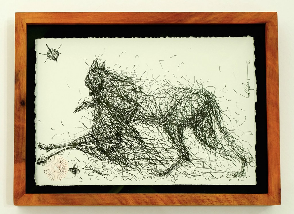 DALeast  &nbsp -  <strong>Untitled 3</strong> (2014<strong style = 'color:#635a27'></strong>)<bR /> ink on paper,   7 x 10.5 inches  (17.78 x 26.67 cm)  9 x 12 in, framed