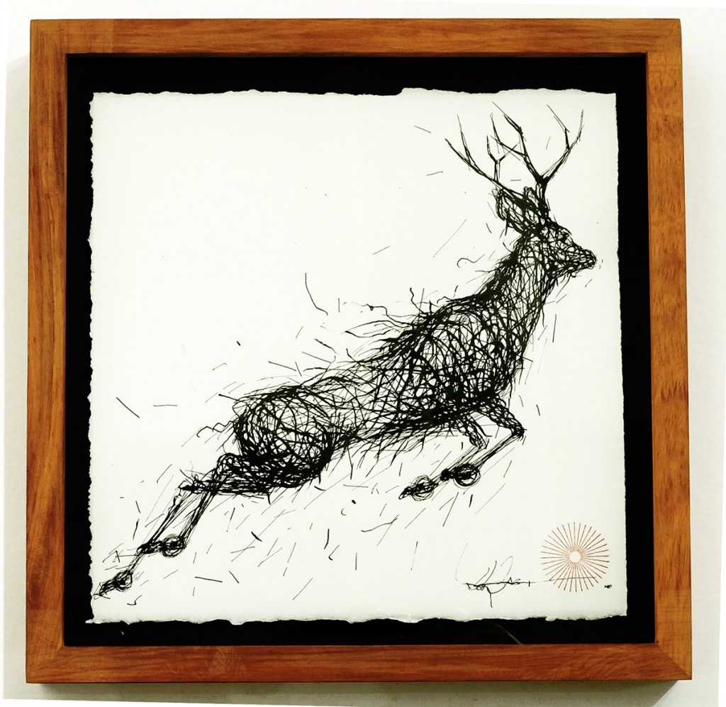 DALeast  &nbsp -  <strong>Untitled 13</strong> (2014<strong style = 'color:#635a27'></strong>)<bR /> ink on paper,   9 x 9 inches  (22.86 x 22.86 cm)  11.25 x 11.5 in, framed