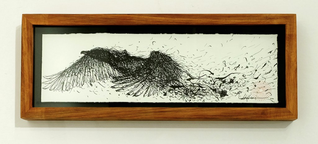 DALeast  &nbsp -  <strong>Untitled 4</strong> (2014<strong style = 'color:#635a27'></strong>)<bR /> ink on paper,   4 x 13 inches  (10.16 x 33.02 cm)  6 x 15.5 in, framed