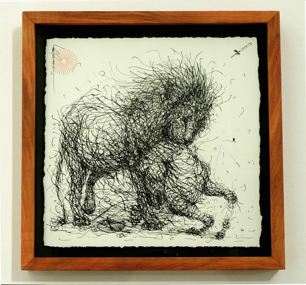 DALeast  &nbsp -  <strong>Untitled 18</strong> (2014<strong style = 'color:#635a27'></strong>)<bR /> ink on paper,   9 x 9 inches  (22.86 x 22.86 cm)  11 x 11 in, framed