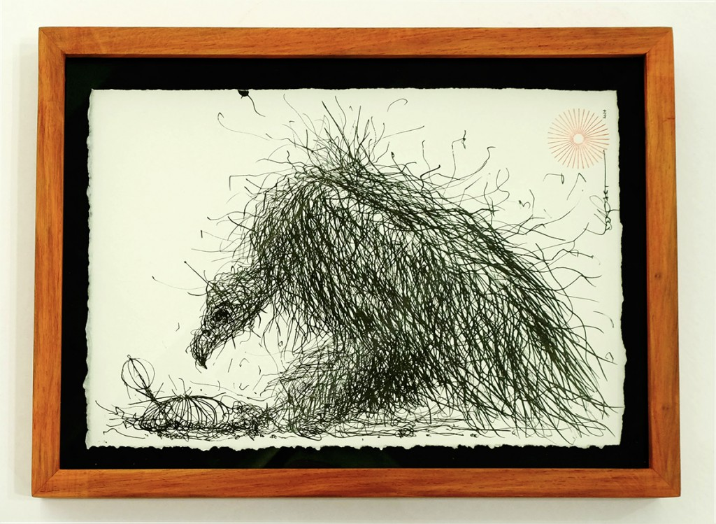 DALeast  &nbsp -  <strong>Untitled 10</strong> (2014<strong style = 'color:#635a27'></strong>)<bR /> ink on paper,   7 x 10 inches  (17.78 x 25.40 cm)  9 x 12 in, framed