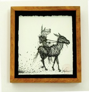 DALeast  &nbsp -  <strong>Untitled 16</strong> (2014<strong style = 'color:#635a27'></strong>)<bR /> ink on paper,   7 x 6.5 inches  (17.78 x 16.51 cm)  9.25 x 8.5 in, framed
