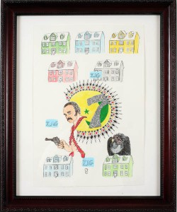 """Damian  Weinkrantz -  <strong>Zig Zag Zig</strong> (2007<strong style = 'color:#635a27'></strong>)<bR /> <font face=""""Arial"""">Ink and Watercolor on Paper</font>,   <font face=""""Arial"""">Image size: 12 x 17 1/2 inches</font>,   <font face=""""Arial"""">Framed size: 19 x 23 inches</font>,   <font face=""""Arial""""></font>,   <font face=""""Arial""""> </font>"""
