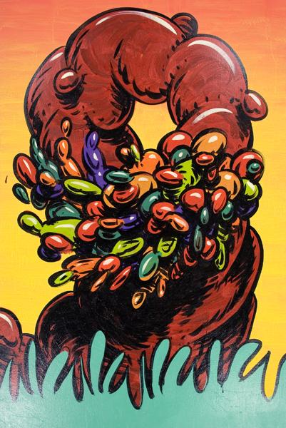 Mark Dean  Veca -  <strong>Danza de la Diosa</strong> (1999<strong style = 'color:#635a27'></strong>)<bR /> Acrylic on Canvas,   72 x 48 inches