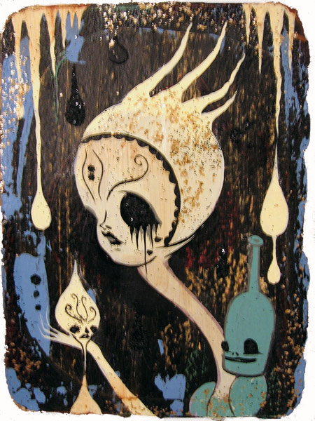 Camille Rose  Garcia -  <strong>Violet Death Boy</strong> (2006<strong style = 'color:#635a27'></strong>)<bR /> Acrylic and gold mica on paper,   7 x 5 1/2 inches