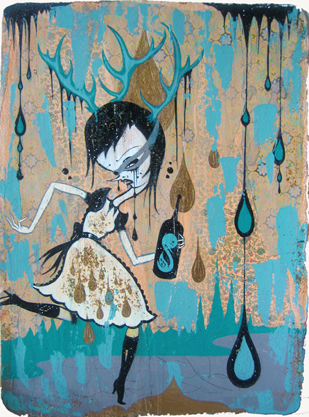 Camille Rose  Garcia -  <strong>Deer Girl with Poison</strong> (2006<strong style = 'color:#635a27'></strong>)<bR /> Acrylic and gold mica on paper,   15 x 11 1/2 inches