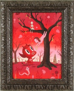 Gary  Baseman -  <strong>The Deflowering</strong> (2005<strong style = 'color:#635a27'></strong>)<bR /> acrylic on panel,   24 x 18 inches (60.96 x 45.72 cm)  32 x 26 inches, framed