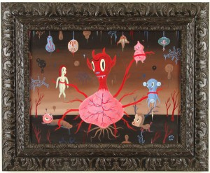 Gary  Baseman -  <strong>Devil Heart</strong> (2005<strong style = 'color:#635a27'></strong>)<bR /> Acrylic on Wood Panel,   18 x 24 inches