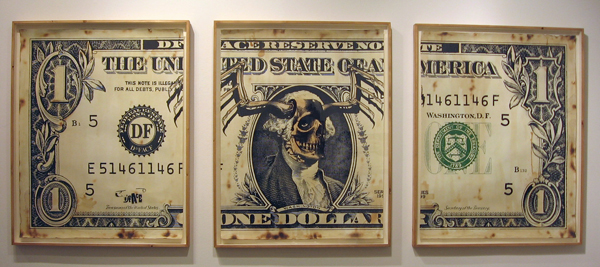 D*Face  &nbsp -  <strong>The United States of America</strong> (2007<strong style = 'color:#635a27'></strong>)<bR /> Mixed media on paper, triptych,   47 1/2 x 37 3/4 inches each