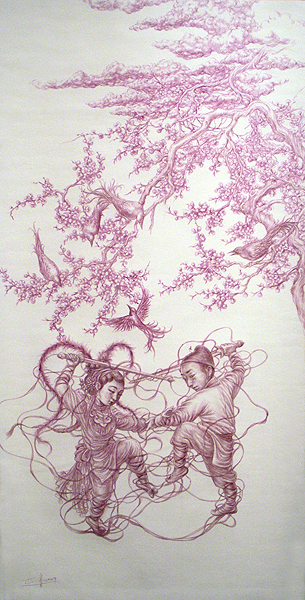 Xiaoqing  Ding -  <strong>Untitled</strong> (<strong style = 'color:#635a27'></strong>)<bR /> ballpoint pen on rice paper mounted on fabric scroll,   Image size: 26 1/2 x 13 inches [67.3 x 33 cm],   Scroll size: 50 x 17 1/2 inches [127 x 44.5 cm]