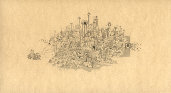 Randall  Sellers -  <strong>Dire Tide</strong> (2006<strong style = 'color:#635a27'></strong>)<bR /> Graphite on Paper,   Image size: 2 3/4 x 5 inches,   Paper size: 4 x 6 1/2 inches,   Framed size: 6 x 9 1/2 inches