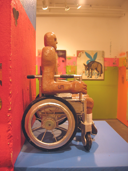 Date Farmers  &nbsp -  <strong>Disability (profile)</strong> (2008<strong style = 'color:#635a27'></strong>)<bR /> Carved Wood and Mixed Media Sculpture,   14 x 10 x 8 inches