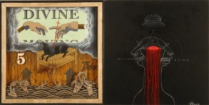 Doze  Green -  <strong>Divine Moving</strong> (2006<strong style = 'color:#635a27'></strong>)<bR /> Mixed media,   Diptych,   24 x 48 inches