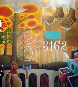 Doze  Green -  <strong>The Overload (right panel detail)</strong> (2006<strong style = 'color:#635a27'></strong>)<bR /> Mixed Media on Canvas,   Triptych,   3 x 9 feet