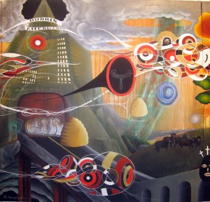 Doze  Green -  <strong>The Overload (center panel detail)</strong> (2006<strong style = 'color:#635a27'></strong>)<bR /> Mixed Media on Canvas,   Triptych,   3 x 9 feet
