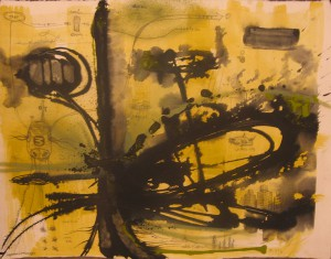 Doze  Green -  <strong>Untitled</strong> (2006<strong style = 'color:#635a27'></strong>)<bR /> Mixed Media on Paper,   23 x 30 inches