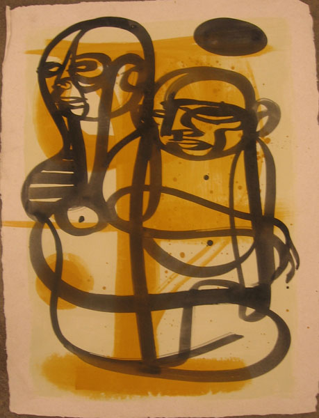 Doze  Green -  <strong>Mother and Child</strong> (2006<strong style = 'color:#635a27'></strong>)<bR /> Mixed Media on Paper,   30 x 22 inches