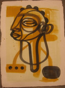 Doze  Green -  <strong>Yoruba</strong> (2006<strong style = 'color:#635a27'></strong>)<bR /> Mixed Media on Paper,   30 x 22 inches
