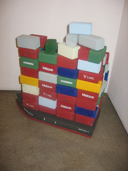 Andrew  Schoultz -  <strong>Untitled Installation</strong> (2006<strong style = 'color:#635a27'></strong>)<bR /> Mixed media with hand sculpted buildings and figures ,   Dimensions variable