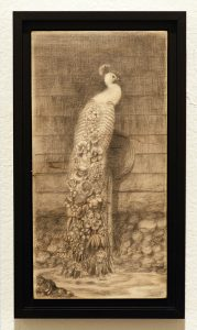 Martin Wittfooth -  <strong>Bloom study</strong> (2015<strong style = 'color:#635a27'></strong>)<bR /> graphite on wood,   12 x 6 inches  (30.48 x 15.4 cm)  13.75 x 7.75 inches, framed