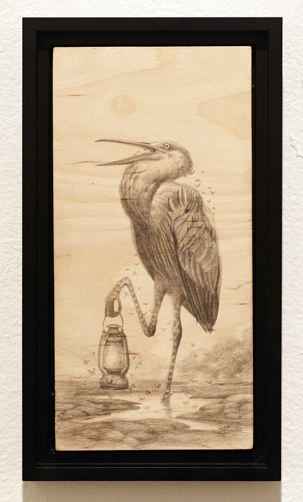 Martin Wittfooth -  <strong>Gathering study</strong> (2015<strong style = 'color:#635a27'></strong>)<bR /> graphite on wood,   12 x 6 inches  (30.48 x 15.24 cm)  13.75 x 7.75 inches, framed