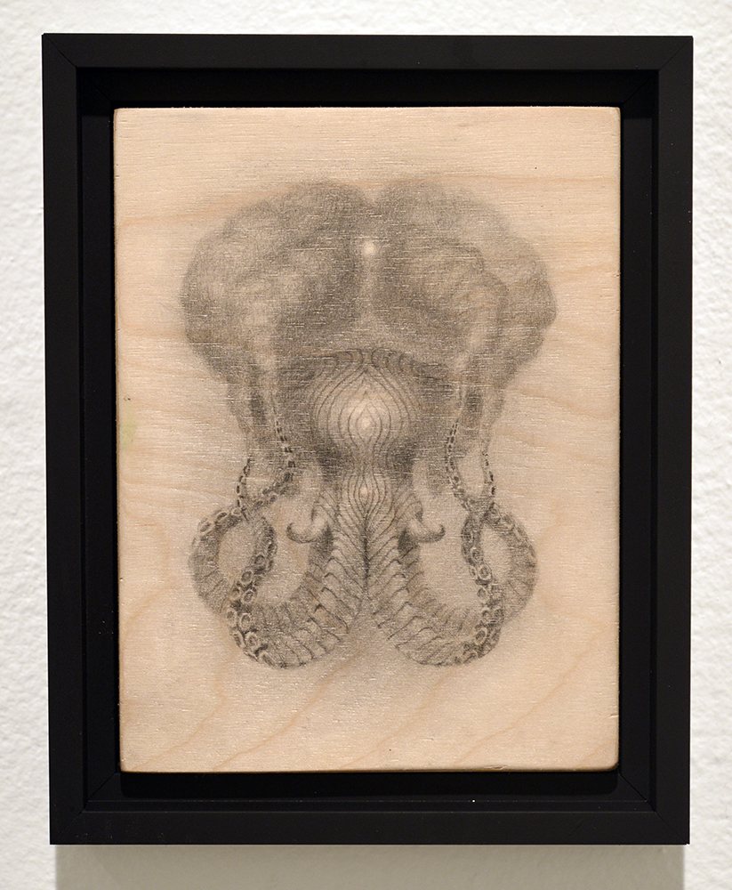 Martin Wittfooth -  <strong>Marosa study</strong> (2015<strong style = 'color:#635a27'></strong>)<bR /> graphite on wood,   8 x 6 inches  (20.32 x 15.24 cm)  9.75 x 10.75 inches, framed