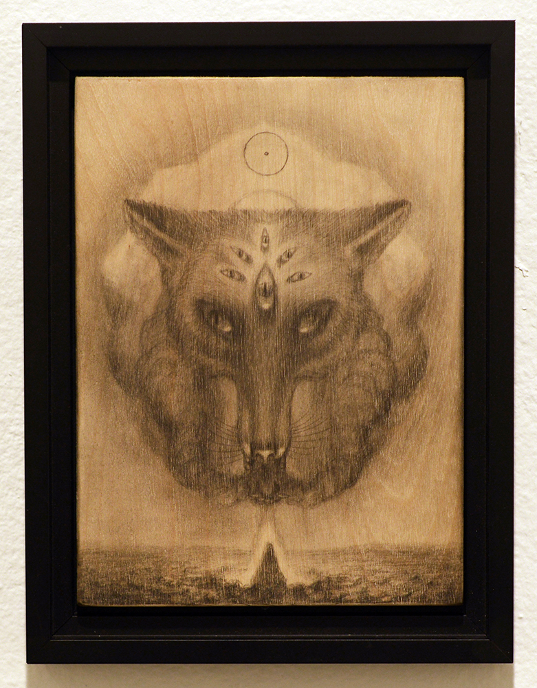 Martin Wittfooth -  <strong>Maya study</strong> (2015<strong style = 'color:#635a27'></strong>)<bR /> graphite on wood,   9.5 x 6 inches  (24.13 x 15.24 cm)  10.75 x 8.25 inches, framed