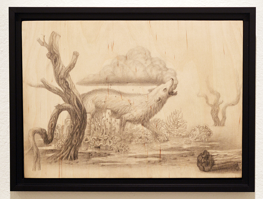 Martin Wittfooth -  <strong>Rainsong study</strong> (2015<strong style = 'color:#635a27'></strong>)<bR /> graphite on wood,   11 x 15 inches  (27.94 x 38.1 cm)  12.5 x 16.75 inches, framed