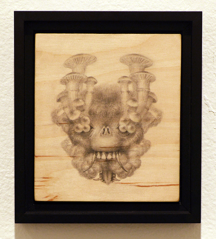 Martin Wittfooth -  <strong>Soma study</strong> (2015<strong style = 'color:#635a27'></strong>)<bR /> graphite on wood,   7 x 6 inches  (17.78 x 15.24 cm)  8.75 x 7.75 inches, framed