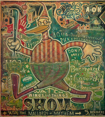 "Daniel  Peacock -  <strong>Duck Show</strong> (<strong style = 'color:#635a27'></strong>)<bR /> Mixed Media on Canvas 48"" x 48"" -Contact Gallery for Availability-"