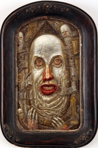 Chris  Mars -  <strong>The Duke of Nothing</strong> (2005<strong style = 'color:#635a27'></strong>)<bR /> Oil on Panel,   17 x 5 x 10 inches