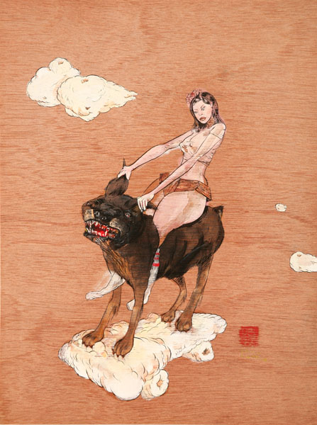 David  Choe -  <strong>Ear Bars</strong> (<strong style = 'color:#635a27'></strong>)<bR /> Mixed media on Wood,   16 x 12 inches
