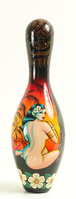 Kirsten  Easthope -  <strong>South Sea Beauty</strong> (<strong style = 'color:#635a27'></strong>)<bR /> acrylic on bowling pin,   15 1/2 x 4 in. (39.37 x 10.16 cm)