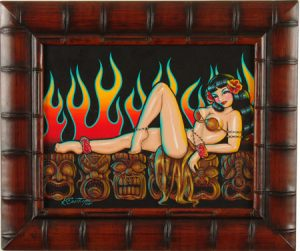 Kirsten  Easthope -  <strong>Tiki Lounge</strong> (<strong style = 'color:#635a27'></strong>)<bR /> acrylic on masonite,   14 x 10 in. (27.94 x 35.56 cm),   19 x 16 in. (40.64 x 48.26 cm) framed