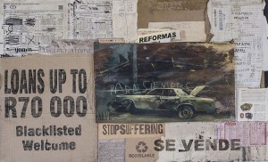 """Faith47   -  <strong>Para Siempre</strong> (2015<strong style = 'color:#635a27'></strong>)<bR /> mixed media and collage on wood ,   21.65 x 34.25 inches  (55 x 87 cm),   <span style=""""font-size: 9pt; font-family: Arial, sans-serif;"""">"""