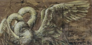 """Faith47   -  <strong>Self Abandonment To Divine Providence</strong> (2015<strong style = 'color:#635a27'></strong>)<bR />  acrylic, oil and graphite on wood,   23.7 x 47.95 inches  (60 x 122 cm),   <span style=""""font-size: 9pt; font-family: Arial, sans-serif;"""">"""