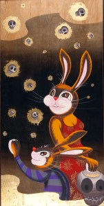 Andrew  Brandou -  <strong>Fireflies</strong> (2006<strong style = 'color:#635a27'></strong>)<bR /> Acrylic and Gold Leaf on Maple Panel,   48 x 24 inches