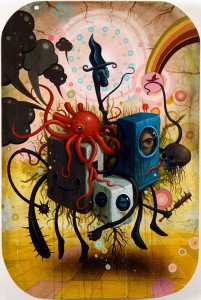 Jeff  Soto -  <strong>Floating Through Life</strong> (2005<strong style = 'color:#635a27'></strong>)<bR /> Acrylic on wood  36 x 24 inches