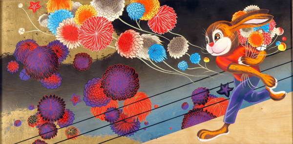 Andrew  Brandou -  <strong>Flower Bombs</strong> (2006<strong style = 'color:#635a27'></strong>)<bR /> Acrylic and Gold Leaf on Maple Panel,   24 x 48 inches