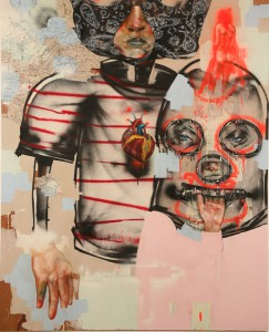 David  Choe -  <strong>Fodder, Skunk, Holy Spits</strong> (<strong style = 'color:#635a27'></strong>)<bR /> Mixed media on Wood,   60 x 49 inches