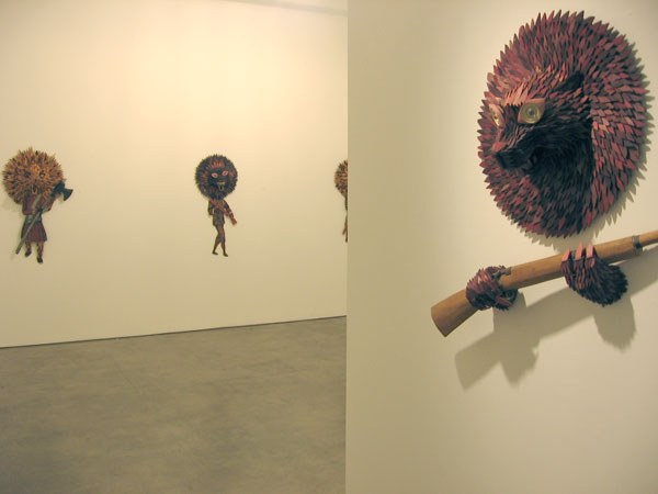 "AJ  Fosik -  <strong>Proof Denies Faith</strong> (<strong style = 'color:#635a27'></strong>)<bR /> The exhibit ""Proof Denies Faith"" with various animal sculptures by AJ Fosik"
