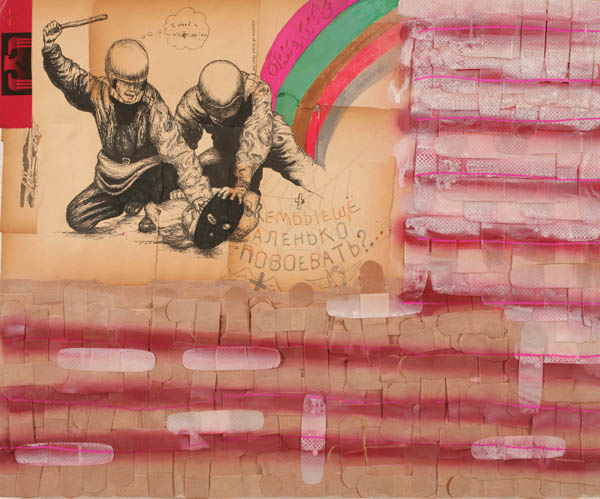 """Erik  Foss -  <strong>Who Else Could I Fight a Little War With</strong> (2007<strong style = 'color:#635a27'></strong>)<bR /> <font face=""""Arial"""">Mixed Media on Panel</font>,   <font face=""""Arial"""">19 x 16 inches</font>,   <font face=""""Arial""""> </font>"""