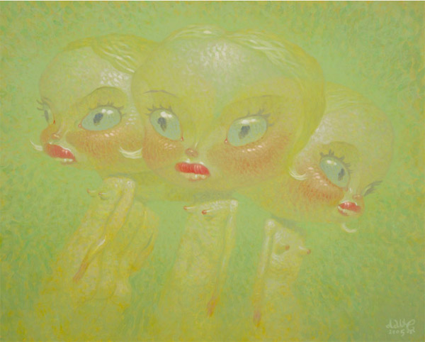 Dave  Cooper -  <strong>Foursome</strong> (2005<strong style = 'color:#635a27'></strong>)<bR /> oil on canvas ,   28 x 34 1/2 inches