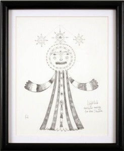 """Foi  Jimenez -  <strong>Light God</strong> (<strong style = 'color:#635a27'></strong>)<bR /> <font face=""""Arial"""">Drawing on Paper</font>,   <font face=""""Arial"""">Image size: 8 x 11 inches</font>,   <font face=""""Arial"""">Framed size: 11 x 14 inches</font>,   <font face=""""Arial""""> </font>"""