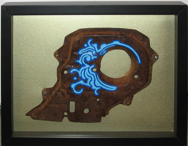 Zezão  &nbsp -  <strong>Iron Skull</strong> (<strong style = 'color:#635a27'></strong>)<bR /> Mixed Media on Metal,   Metal size: 11 x 8 inches,   Framed size: 15 x 12 inches