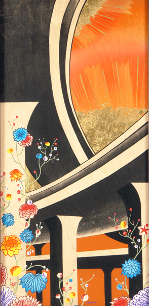 Andrew  Brandou -  <strong>Freeway Flowers</strong> (2006<strong style = 'color:#635a27'></strong>)<bR /> acrylic and gold leaf on maple panel,   24 x 12 inches  (60.96 x 30.48 cm)