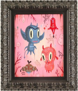 Gary  Baseman -  <strong>Garden Party #1</strong> (2005<strong style = 'color:#635a27'></strong>)<bR /> Acrylic on Wood Panel,   14 x 11 inches