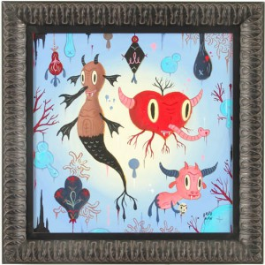 Gary  Baseman -  <strong>Garden Party #1</strong> (2005<strong style = 'color:#635a27'></strong>)<bR /> Acrylic on Wood Panel,   18 x 18 inches