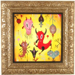 Gary  Baseman -  <strong>Garden Party #2</strong> (2005<strong style = 'color:#635a27'></strong>)<bR /> Acrylic on Wood Panel,   18 x 18 inches